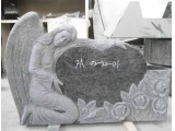 Angel Heart Tombstone with Flower