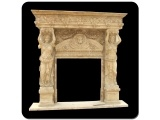 Beautiful Egypt Cream Stone Fireplace