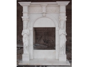 Decorative White Marble Fireplace Mantel