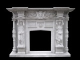 Dark Grey Color Marble Fireplace