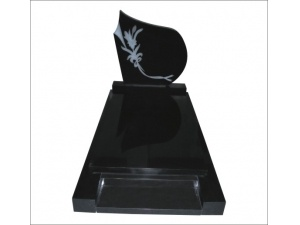 Flower Etched Monument in Black